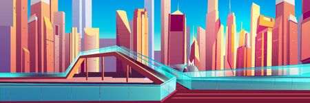 Metropolis cityscape cartoon vector background. Modern skyscrapers buildings, pedestrian overpass, footbridge with glass fencing over road, city metropolitan underground station entrance illustration