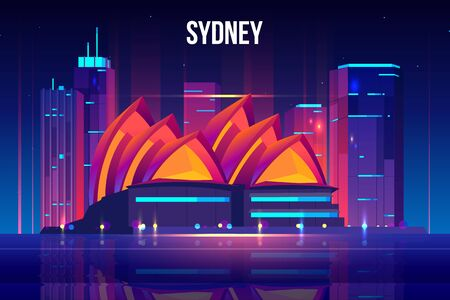 Sydney city skyline, seafront cartoon vector background with modern architecture skyscrapers buildings, touristic attractions illuminating with neon lights, reflecting in bay calm water illustration