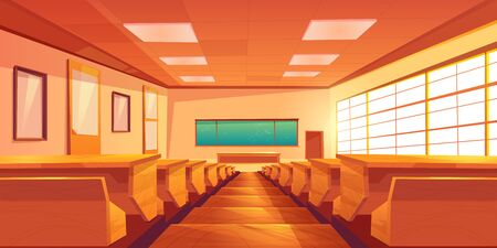 Modern university auditorium, college classroom, high school lecture hall cartoon vector empty interior with long chalkboard, lecturers table, students desks with seats on stairs illustration