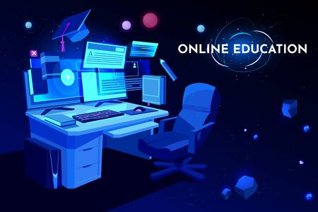Online education banner, student workplace with computer table, Pc monitor and armchair, home working place desk, remote studying, academic cap, neon glowing futuristic background. Cartoon vector Illustration