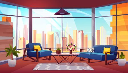 Hotel suite, office lounge area, condominium apartment living room cartoon vector interior. Comfortable armchair and sofa, vase on coffee table, metropolis cityscape in panoramic window illustration