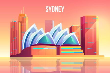 Sydney city with opera theater skyline, Australia world famous attraction architecture symbol near waterfront, megapolis with skyscrapers reflecting in water surface. Cartoon vector illustration