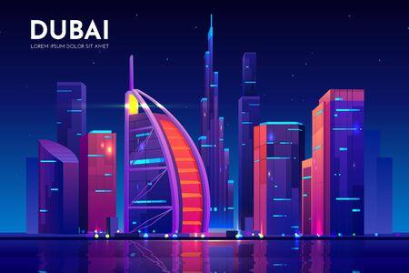 Ville de Dubaï avec l'horizon de la tour de l'hôtel, éclairage au néon. Arrière-plan d'architecture de paysage urbain de nuit des Émirats arabes unis, mégapole moderne au bord de l'eau du golfe Persique. Illustration vectorielle de dessin animé