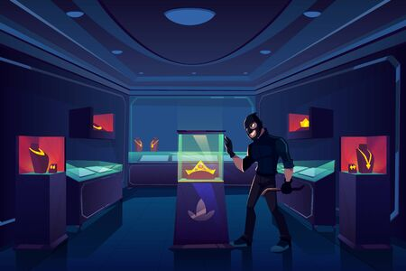 Robbery of jewelry shop, robber or thief with nail puller stand in dark trading room with gold jewellery prepare to break glass showcase with precious gem stones diadem. Cartoon vector illustration
