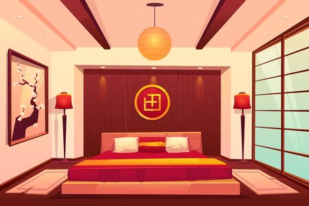 Asian bedroom, chinese, japanese, eastern room interior with double king size bed, floor lamps, hierogliph symbol, sakura picture on wall, sliding doors, traditional hotel. Cartoon vector illustration