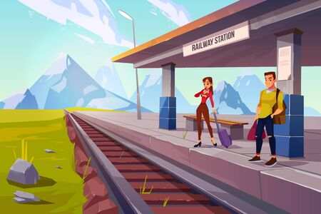Passengers on railway station. People with luggage waiting train on railroad platform in highland countryside area with mountain landscape background, public transportation Cartoon vector illustration Illustration