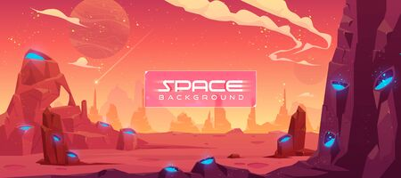 Space background, alien fantasy landscape with rocks and craters with blue liquid inside, orange planet empty surface, cloudy sky and falling comet, computer game backdrop, cartoon vector illustration Иллюстрация