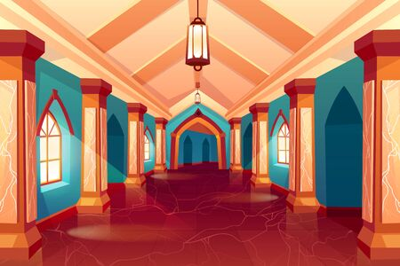 Castle corridor, labyrinth, medieval palace, maze or historical hotel, column hall, empty interior, hallway with pillars and marble floor, antique architecture background. Cartoon vector Illustration