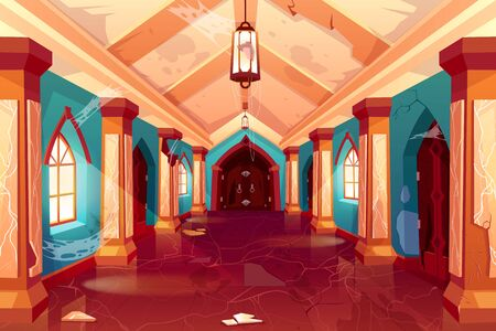 Abandoned castle, empty old palace interior, column hallway with spiderweb, cracked walls, collapsed plaster, corridor perspective view, antique architecture background. Cartoon vector Illustration
