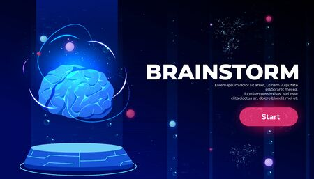 Brainstorm landing page, artificial intelligence technologies, glowing human brain levitate on antigravity platform on neon glowing futuristic background, Cartoon vector illustration, web banner
