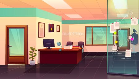 Evidence board in police station interior with glass door, table, computer, paper piles and mannequin with policeman uniform, crime investigation department empty room. Cartoon vector illustration