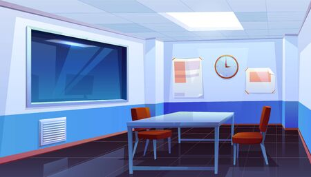 Interrogation room in police station, empty interior for questioning crimes with table, chairs, clock on wall and huge glass window, place for interview arrested people. Cartoon vector Illustration Illustration