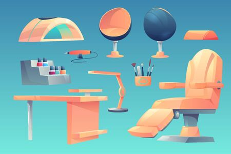 Manicure, pedicure salon, furniture, appliances set isolated on blue background, table, transforming and egg shaped armchairs, ultraviolet lamp, brushes and nail polishes, Cartoon vector illustration