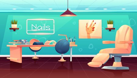 Salon for manicure, pedicure nails care beauty procedures, empty studio interior with furniture and appliances, table, transforming armchair, lamp and nail polishes palette Cartoon vector illustration Иллюстрация