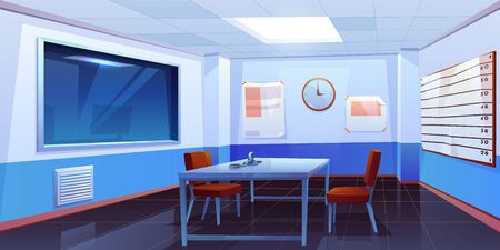 Interrogation room in police station, empty interior for questioning crimes with handcuffs on table, height scale and glass window, place for interview arrested people. Cartoon vector Illustration Ilustração