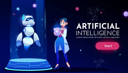 Artificial intelligence landing page, woman scientist in white robe stand with tablet in front of panda robot on ski-fi podium, neon glowing futuristic background Cartoon vector illustration, banner Иллюстрация