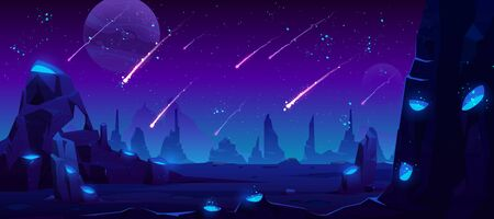 Meteor rain at night, neon space background with falling stars in dark sky of alien planet with craters full of glowing blue liquid, fantasy extraterrestrial landscape, Cartoon vector illustration Иллюстрация