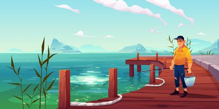 Fisherman on pier, young man in old clothing and cap holding metal bucket and rod stand on wooden wharf with ropes on picturesque lake background with mountains view. Cartoon vector illustration