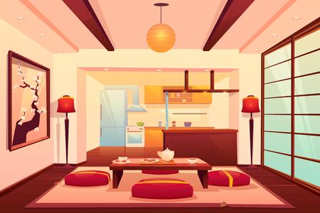 Kitchen in asian style, chinese, japanese, eastern room interior with cooking appliances, refrigerator, low table with food, drinks and seats around, traditional hotel. Cartoon vector illustration Иллюстрация