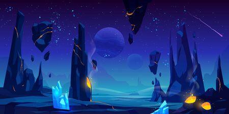 Space background, neon night alien fantasy landscape with flying rocks, crystals, falling meteor in dark starry sky, extraterrestrial craters full of glowing liquid lava, Cartoon vector illustration Иллюстрация