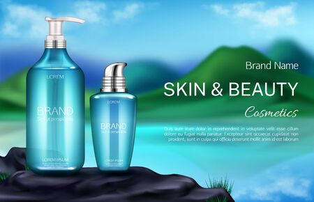 Cosmetics bottles, natural beauty product for skin care banner, pump and spray tubes on mountain landscape blurred background with green hills, lake and blue sky. Realistic 3d vector illustration