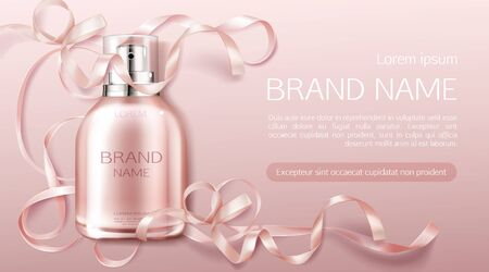 Perfume bottle, fragrance cosmetic design banner mock up. Glass sprayer flask packaging on pink background with rose ribbon. Women cosmetics product, promo ad banner. Realistic 3d vector illustration