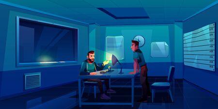 Interrogatorio del criminale nella stazione di polizia, poliziotto che intervista un uomo sospetto seduto in una stanza buia con le manette sul tavolo, la lampada che brilla sul viso e sulla finestra, testimonia. Fumetto illustrazione vettoriale