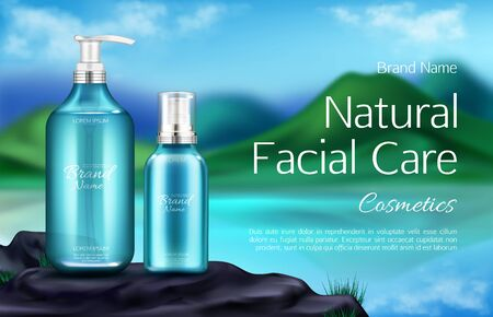 Cosmetics bottles, natural facial care banner, beauty product in pump and spray tubes on mountain landscape blurred background with green hills, lake and blue sky. Realistic 3d vector illustration