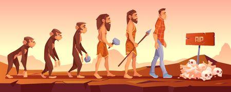 Aussterben der menschlichen Spezies, Evolutionszeitlinie, Affe wird zu aufrechtem Homo sapience, männlicher Charakter entwickelt sich vom Affen zum modernen Menschen, der mit Schädeln und Rip-Zeichen ins Grab geht Cartoon-Vektor-Illustration Vektorgrafik