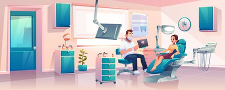 Woman sitting in dentist chair, listening doctors explanations about x-ray results while having appointment in modern, well equipped dentist clinic or stomatology cabinet cartoon vector illustration