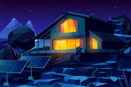 Two storey cottage building, rural house with solar panels in yard, country villa or chalet glowing warm yellow light through windows at starry night in mountainous area cartoon vector illustration Illustration