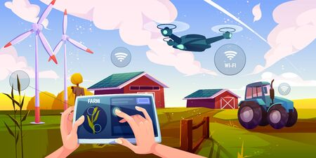 Smart farming, futuristic technologies in farm industry. Tablet with app for control plants growing, drone, wind mills, solar panels, agricultural automation and robotics Cartoon vector illustration Stock Illustratie