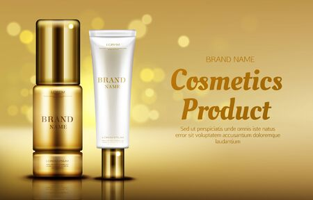 Cosmetics beauty product bottle mockup banner on gold defocused background with bokeh. Skin care serum and cosmetic cream advertising promo template for magazine. Realistic vector ad banner