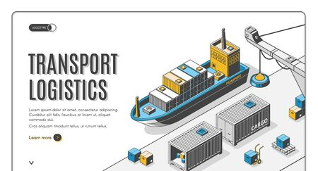 Transport logistics isometric landing page, ship port delivery service company, cargo and goods transportation, export, import over world, industrial business 3d vector illustration, line art, banner