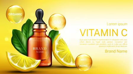 Vitamine? Kosmetikflasche mit Pipette, Bio-Anti-Aging-Serum, Q10-Fruchtsäure-Produktpaket-Mockup-Hintergrund mit Zitronenscheiben. Natürliche ökologische kosmetische Hautpflege. Realistische 3D-Vektorillustration Vektorgrafik