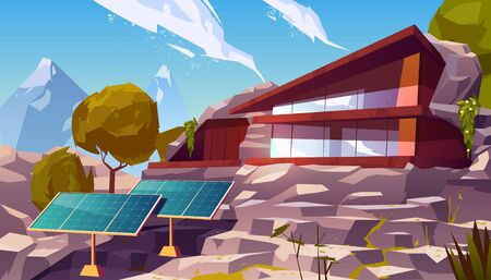 Organic architecture house with solar panels. Eco friendly wooden dwelling building with huge windows situated on mountain nature landscape with trees around, green energy. Cartoon vector illustration
