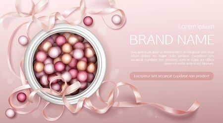 Cosmetics open jar with pearls top view, primer or powder spheres cosmetic package mockup, beauty product capsules for face care on pink background with ribbon Realistic 3d vector illustration, banner