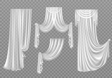 White curtains set isolated on transparent background. Folded cloth for window decoration, soft lightweight clear material, fabric hangings drapery of different forms. Realistic 3d vector illustration