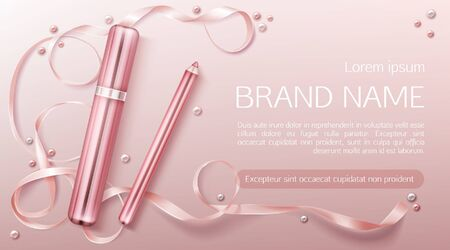 Lipstick cosmetics make up beauty product banner.