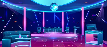 Nightclub interior with bright neon illumination, stools near bar counter, comfortable sofa, alcohol drinks on table, DJ equipment on desk, disco ball under dance floor cartoon vector illustration