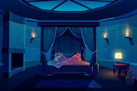 Pareja joven durmiendo en la cama con dosel en el dormitorio del castillo con cielo estrellado visible a través de la ventana en el techo, interior del apartamento del palacio con chimenea, paredes de piedra y velas Ilustración de vector de dibujos animados Ilustración de vector