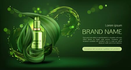 Cosmetics tube mock up ad banner, organic beauty product, natural skin care cream or gel bottle mockup on green background with water splashes and leaves, eco skincare cosmetic. Realistic 3d vector