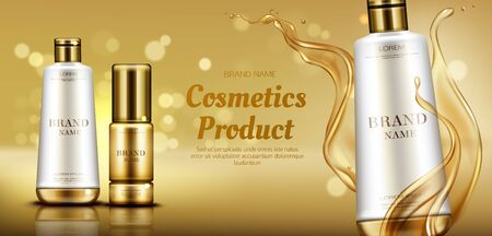 Cosmetics beauty product bottles mockup banner on gold background with liquid droplets splash. skin, hair or body care cosmetic advertising promo template for magazine. Realistic 3d vector ad banner