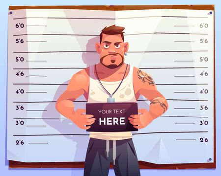 Criminal mugshot front view on measuring scale background in police station. Arrested man gangster holding board with copy space in hands posing for identification photo. Cartoon vector illustration  イラスト・ベクター素材