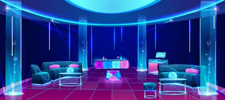 Night club or bar interior, empty dark lounging room with neon illumination, counter desk with drinks, dj mixer, furniture tables with soft couches, glowing plasma lamps. Cartoon vector illustration Illustration