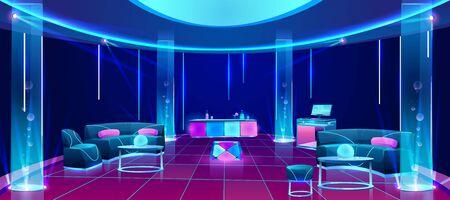 Wnętrze klubu nocnego lub baru, pusty ciemny salon z oświetleniem neonowym, lada z napojami, mikser dj, stoliki z miękkimi kanapami, świecące lampy plazmowe. Ilustracja kreskówka wektor Ilustracje wektorowe