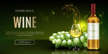 White wine bottle, glass with splash and bunch of grapes mockup banner. Closed flask and wineglass mock up, alcohol vine drink on green background, ad promo banner . Realistic 3d vector illustration Çizim