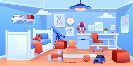 Preschooler boy comfortable bedroom interior in blue, red colors with bed, soft ottomans, cute animal pictures on wall, chair near desk, telescope, toys and carpet on floor cartoon vector illustration Foto de archivo - 129679165