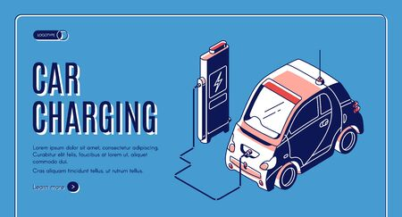 Eco car charging isometric landing page, electric station for power charge of ecology hybrid transport on blue retro colored background, nature friendly auto, 3d vector illustration, banner, line art