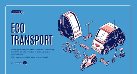 Eco transport isometric landing page, electric car, bicycle, hover board, scooter and skateboard ecological friendly transportation, city vehicles 3d vector illustration, web banner, line art Foto de archivo - 129679206